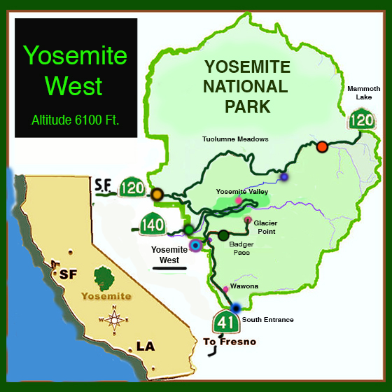 Yosemite Studio Vacation Rental – Yosemite Tourist Map